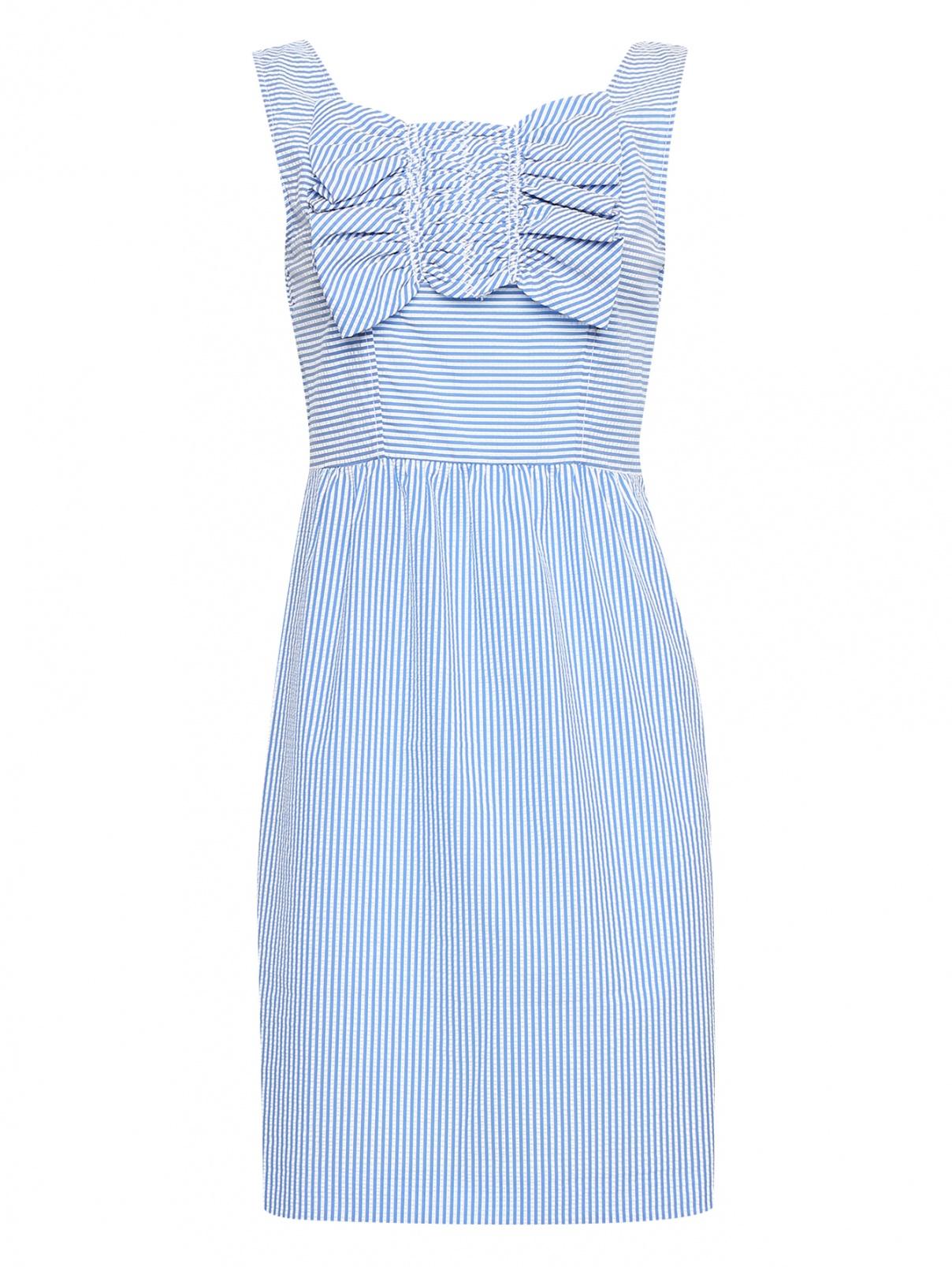Платье-мини с узором полоска BOUTIQUE MOSCHINO  –  Общий вид  – Цвет:  Синий