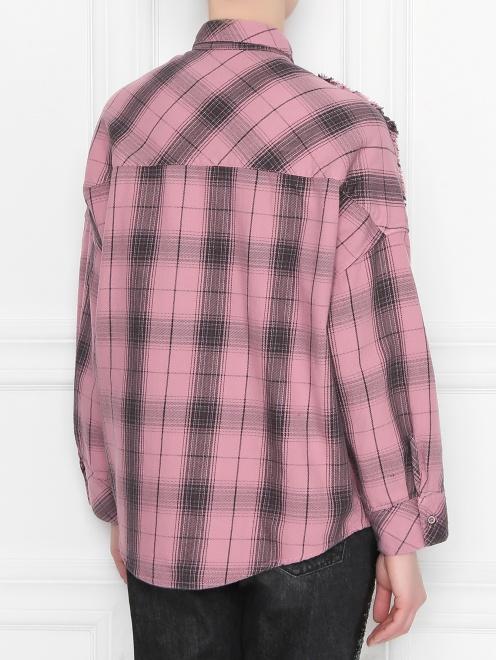 Рубашка хлопковая с узором клетка - МодельВерхНиз1