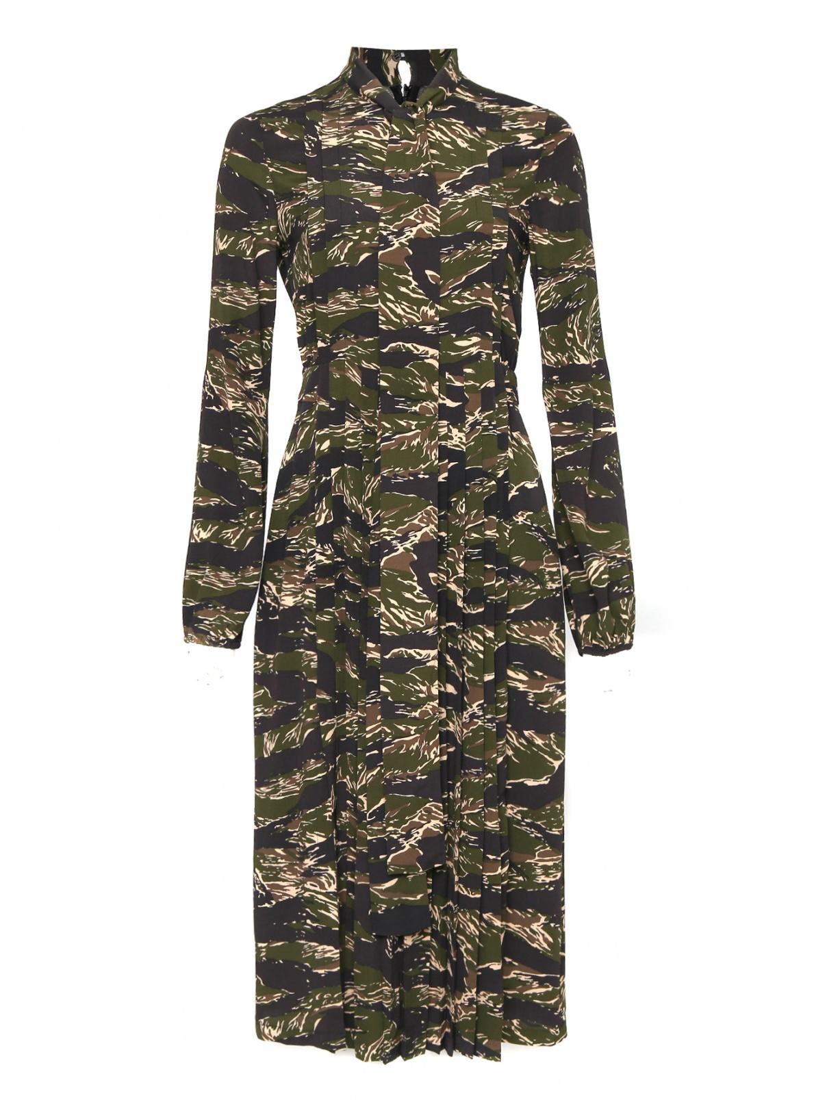 Платье из вискозы с узором N21  –  Общий вид  – Цвет:  Зеленый