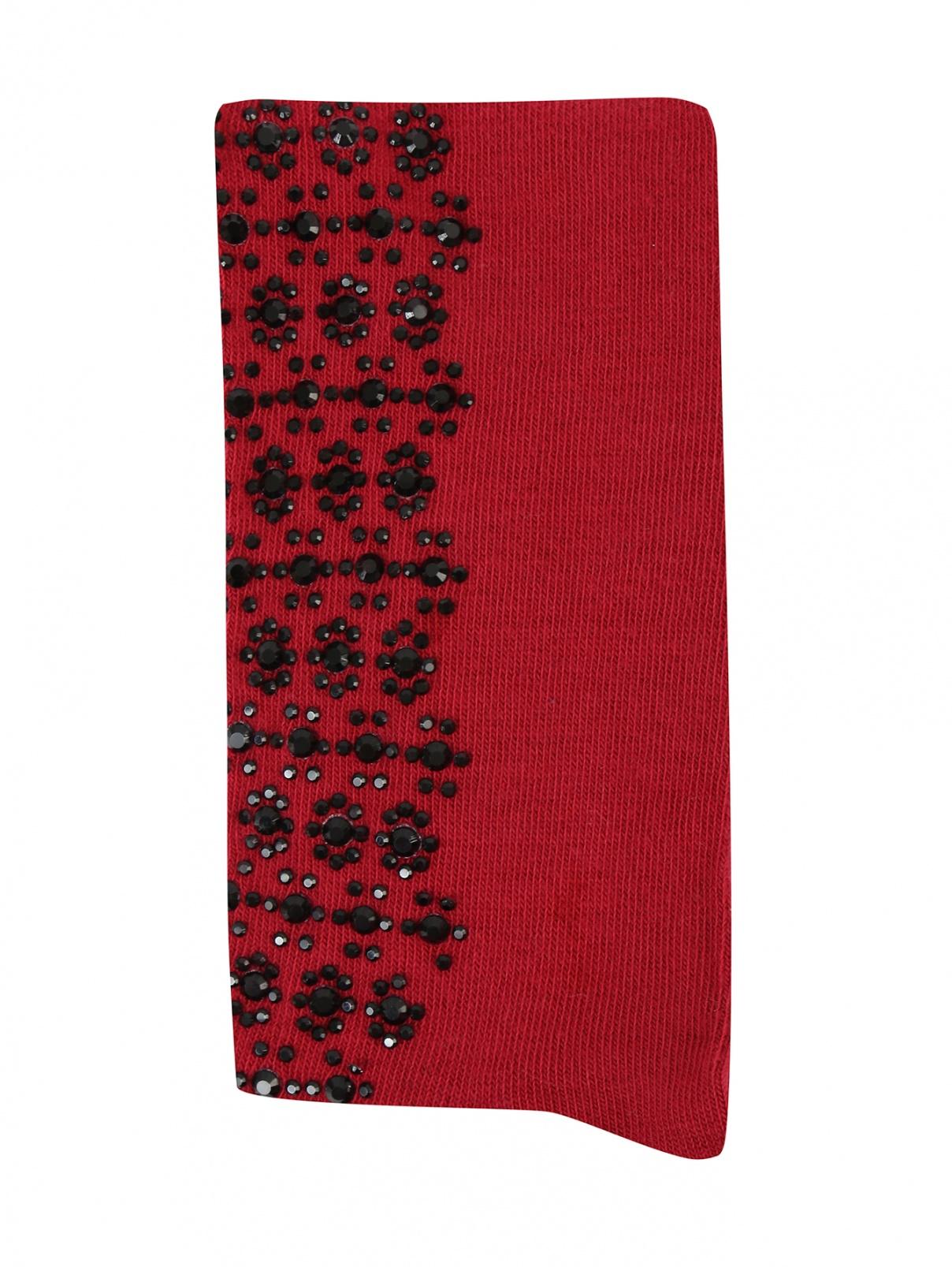Колготки декорированные стразами MiMiSol  –  Общий вид  – Цвет:  Красный