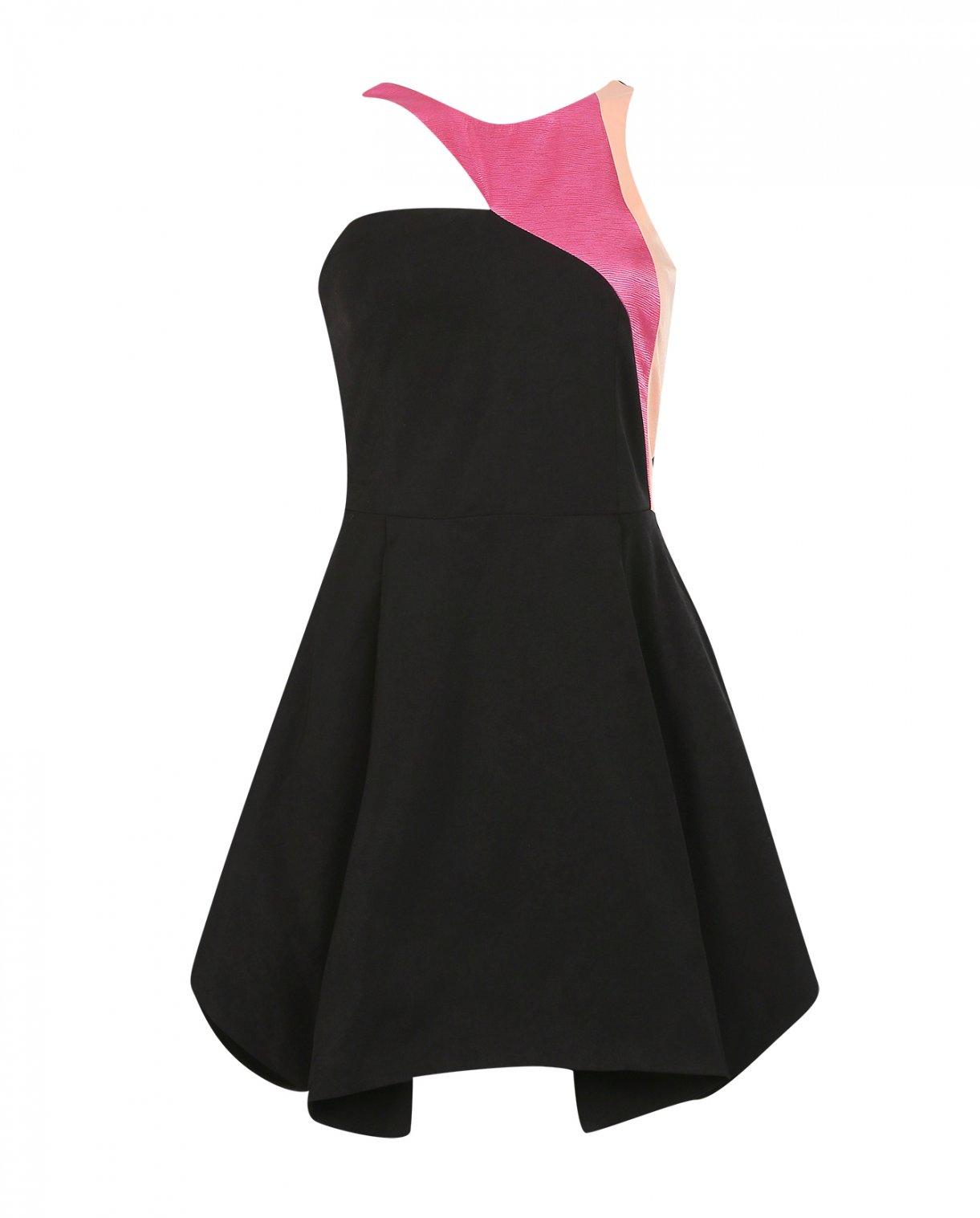Платье-мини без рукавов N12H  –  Общий вид  – Цвет:  Черный