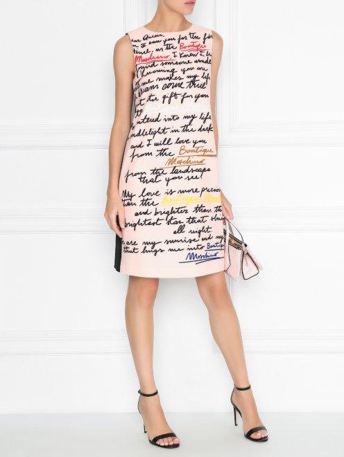 Платье прямого кроя с узором - Общий вид