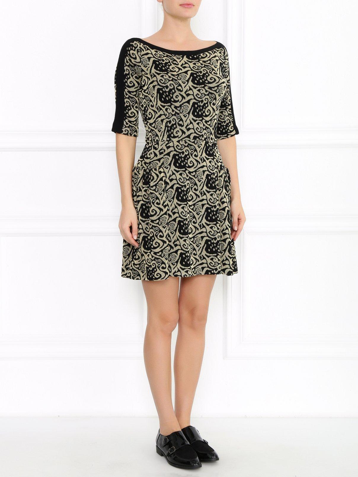Платье из фактурной ткани с узором GIG Couture  –  Модель Общий вид  – Цвет:  Золотой