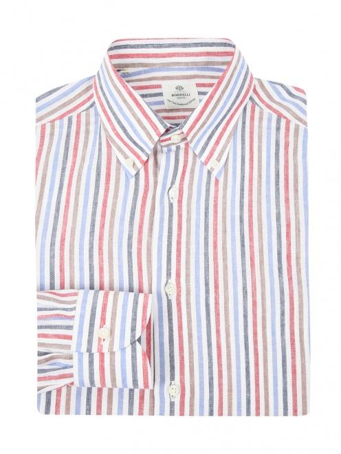 """Рубашка из льна с узором """"полоска""""  - Общий вид"""